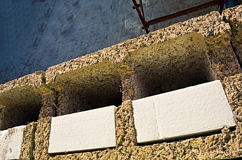 Close up of Durisol blocks before concrete pour, Dale Farm, Wirr