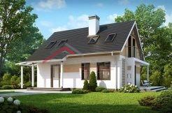 Proiect casa parter cu mansarda, 3 dormitoare
