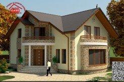 Proiect casa cu Mansarda cu 3 dormitoare, 2 bai